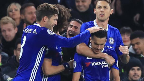 Pedro, bottom right, netted Chelsea's first goal