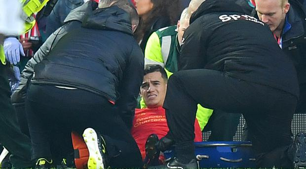Liverpool's Philippe Coutinho faces an injury lay-off