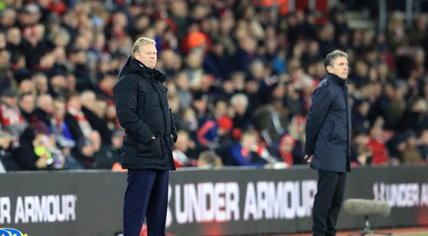 Everton manager Ronald Koeman suffered defeat on his return to Southampton