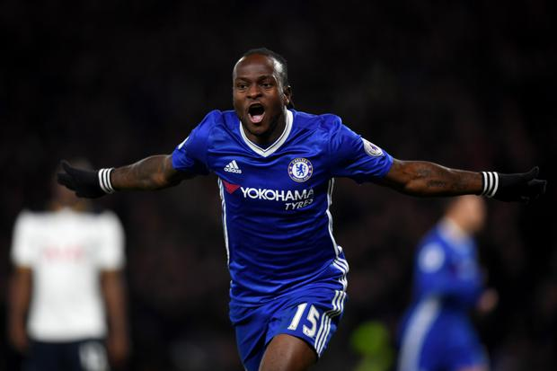 Victor Moses celebrates after scoring the winner as Chelsea defeated Tottenham at Stamford Bridge