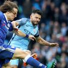 Sergio Aguero was sent off for his reckless tackle on David Luiz
