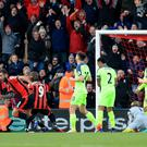 Bournemouth celebrate Steve Cook's equaliser
