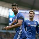 Chelsea's Diego Costa celebrates his goal in their 3-1 win at Manchester City on Saturday.