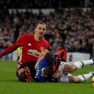Zlatan Ibrahimovic, left, and Seamus Coleman tangled early in the second half
