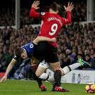 Everton defender Seamus Coleman, left, was left feeling the worse for wear following a tangle with Manchester United striker Zlatan Ibrahimovic