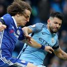 Sergio Aguero, right, was sent off for his tackle on David Luiz, left, towards the end of Manchester City's loss to Chelsea
