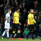 Referee Graham Scott showed a red card to Watford's Roberto Pereyra