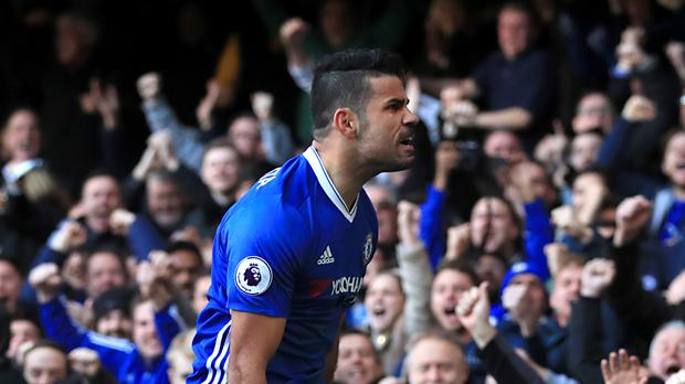 Chelsea's Diego Costa celebrates scoring the winner in a 1-0 victory over West Brom