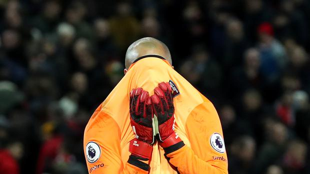 Darren Randolph reacts to his blunder in the 2-2 draw at Anfield