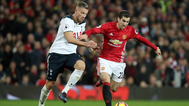 Toby Alderweireld, left, made his first start in eight weeks against Manchester United on Sunday