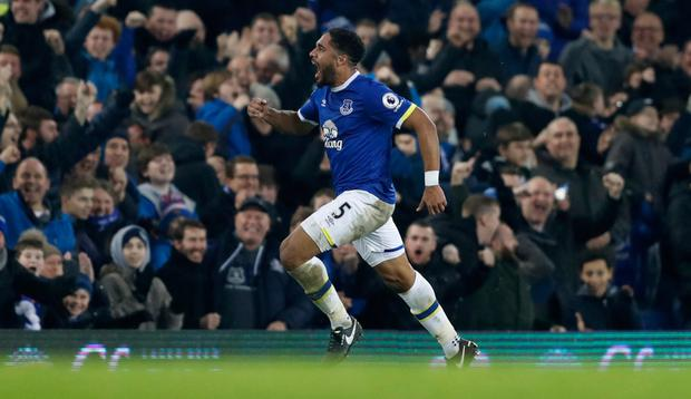 Ashley Williams celebrates after scoring the winner for Everton Picture: Reuters