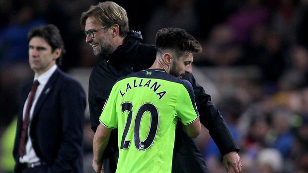 Adam Lallana, pictured right, had a superb game for Liverpool at the Riverside