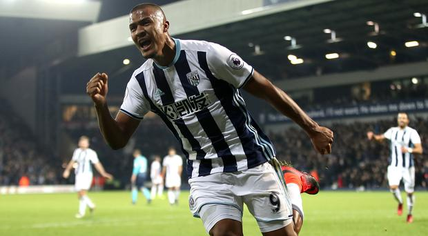West Brom's Salomon Rondon celebrates his hat-trick in their 3-1 win over Swansea