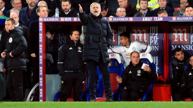 Jose Mourinho watched his Manchester United side score a late winner at Crystal Palace