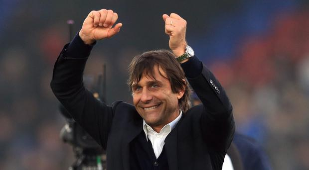 Chelsea manager Antonio Conte celebrates after the 1-0 victory over Crystal Palace