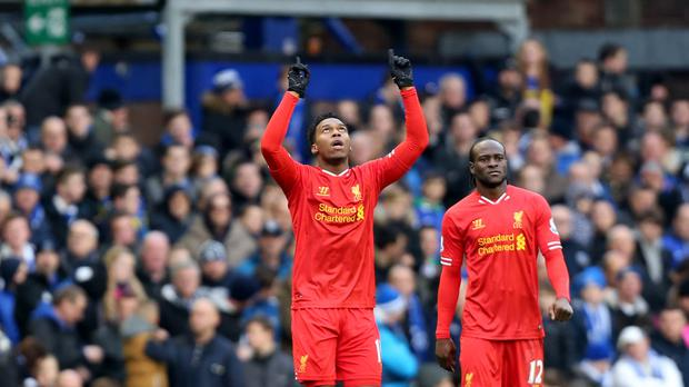 Liverpool's Daniel Sturridge, pictured left, celebrates his goal at Goodison Park in 2013