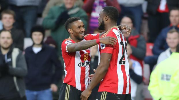 Sunderland striker Victor Anichebe, right, is ready for a battle