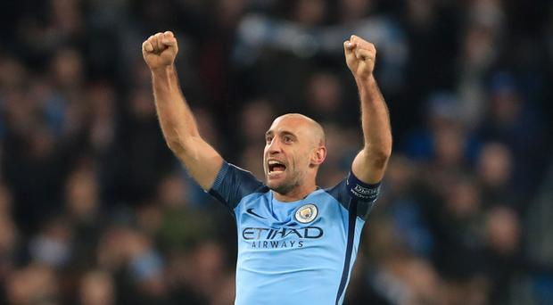 Pablo Zabaleta played through the pain in Manchester City's win against Arsenal