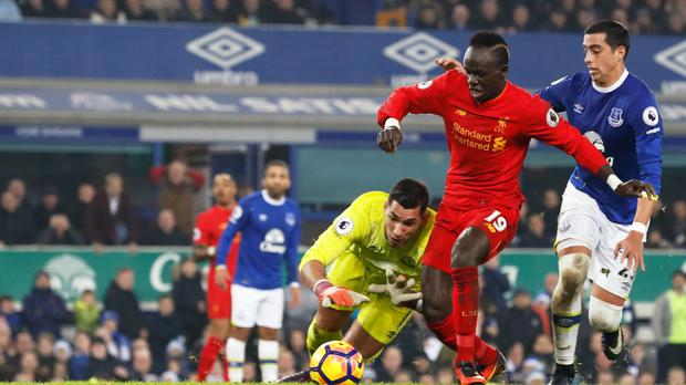Sadio Mane scores the winner in the Merseyside derby