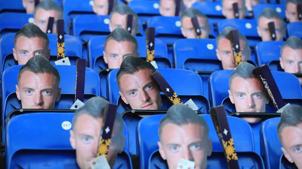 Face masks of Leicester's Jamie Vardy were left on seats for fans before their Premier League home match against Everton.