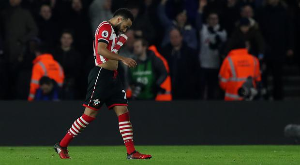 Southampton's Nathan Redmond was dismissed just before the hour mark at St Mary's