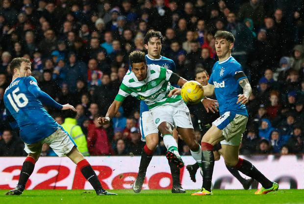 Celtic's Scott Sinclair gets a shot away at Ibrox. Photo: Getty Images