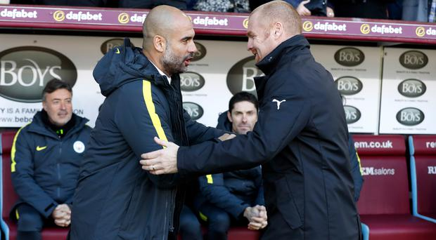 Pep Guardiola, left, met Sean Dyche at Turf Moor in November