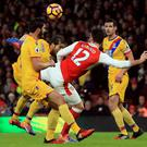 Olivier Giroud scores his incredible goal for Arsenal on New Year's Day