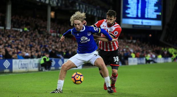 Tom Davies (left) played his part in Everton's win