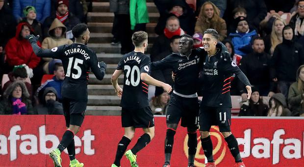 Sadio Mane, second from right, was both hero and villain for Liverpool at Sunderland