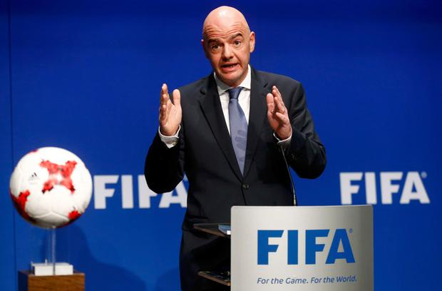 FIFA president Gianni Infantino addresses a news conference after the FIFA Council meeting in Zurich. Photo: Reuters