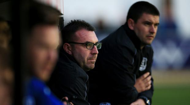David Unsworth, centre, sees a bright future for Everton's first-team youngsters