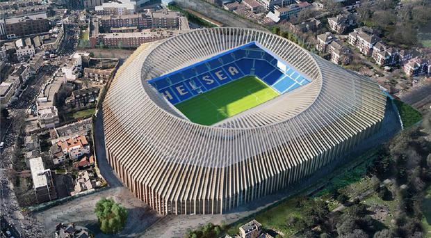 A computer-generated image of Chelsea's stadium redevolpment plans