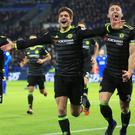 Chelsea's Marcos Alonso, centre, celebrates his second goal in their Premier League victory at Leicester.
