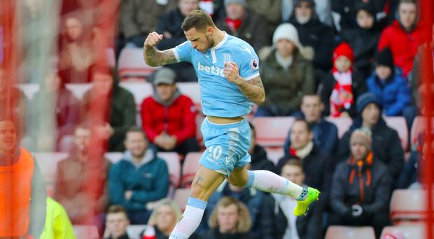 Stoke's Marko Arnautovic celebrates his stunning second goal at Sunderland