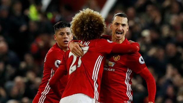 Zlatan Ibrahimovic, right, rescued a point for Manchester United