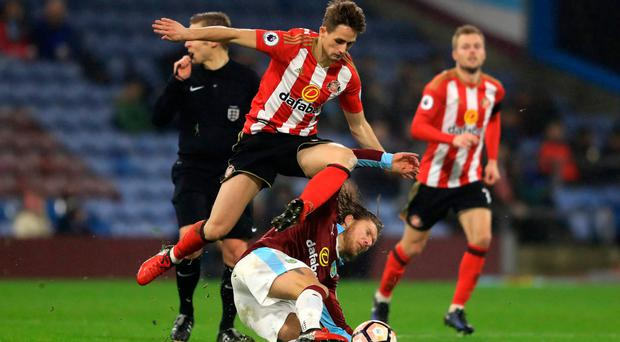 Jeff Hendrick battles it out with Adnan Januzaj during last night's FA Cup replay between Burnley and Sunderland. Photo: Richard Heathcote/Getty Images