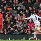 Swansea's Fernando Llorente scores his side's second goal