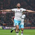 Andy Carroll celebrates his second goal for West Ham at Middlesbrough