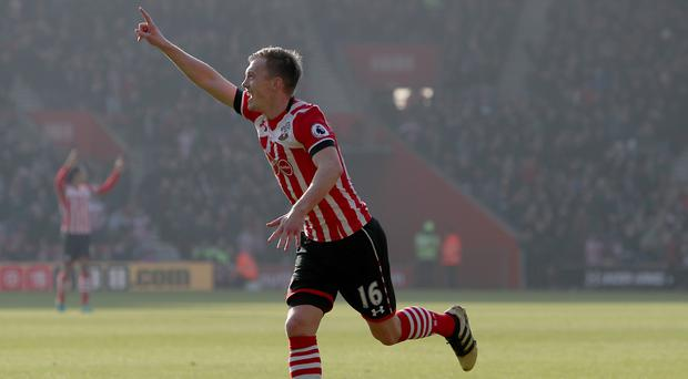 Southampton's James Ward-Prowse celebrates his opener against Leicester