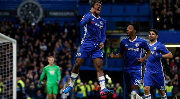 Chelsea's Michy Batshuayi celebrates scoring his side's fourth goal