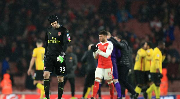 Petr Cech conceded twice as Watford beat Arsenal at the Emirates Stadium on Tuesday night