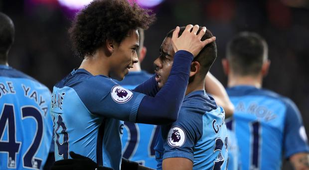 Gabriel Jesus, right, was on target for Manchester City