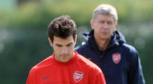 Cesc Fabregas, front, says he will always be grateful to Arsenal and Gunners manager Arsene Wenger, back