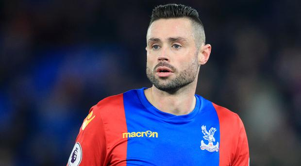 Crystal Palace's Damien Delaney was confronted by a fan during the game against Sunderland