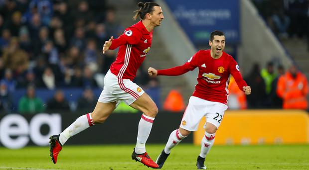 Goals from Zlatan Ibrahimovic, left, and Henrikh Mkhitaryan, right, put Manchester United on course for victory at the King Power Stadium