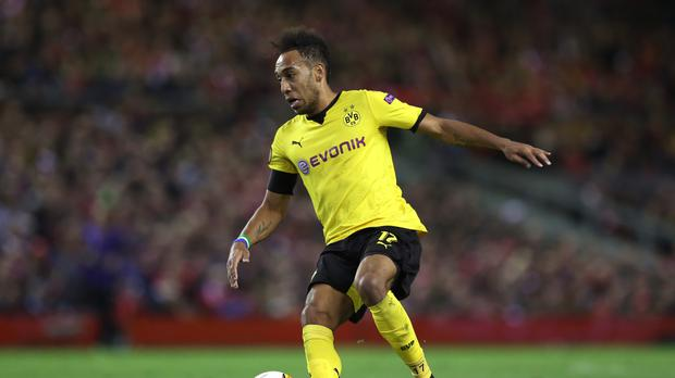 Borussia Dortmund's Pierre-Emerick Aubameyang is targeted by Manchester City