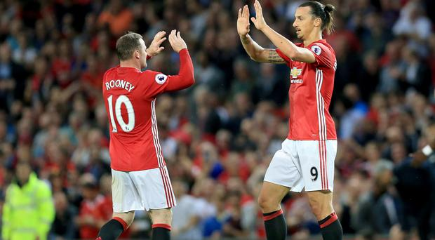 Zlatan Ibrahimovic, right, and Wayne Rooney, left, teamed up at a sponsor's event at Old Trafford