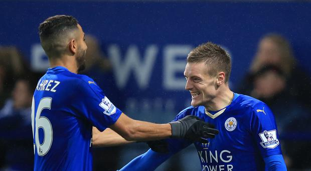 Riyad Mahrez, left, and Jamie Vardy, right, need to start firing again if Leicester are to survive