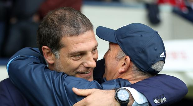 Slaven Bilic, left, was not smiling after his meeting with Tony Pulis in September